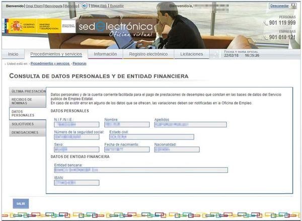 Consultar datos Personales