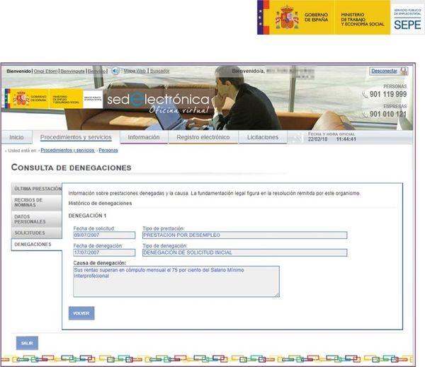 Consulta prestaciones y denegaciones realizadas por el SEPE