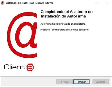 Finalización Instalación AutoFirma del PAE
