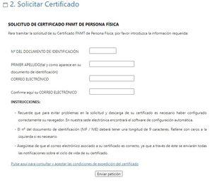 paso 2 para solicitar el certificado